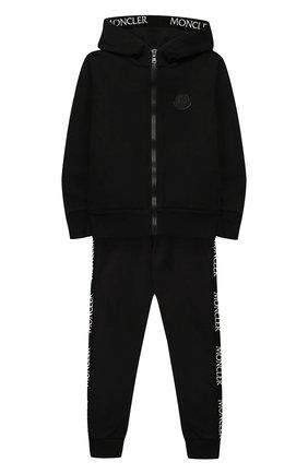 Детского комплект из толстовки и брюк MONCLER черного цвета, арт. E2-954-88143-05-809F8/8-10A | Фото 1