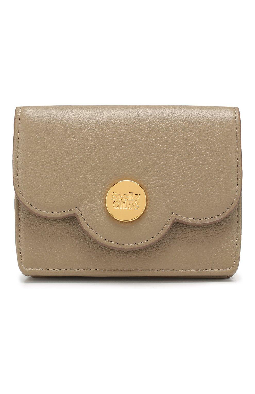 Женские кожаный кошелек SEE BY CHLOÉ серого цвета, арт. CHS18UP782388 | Фото 1
