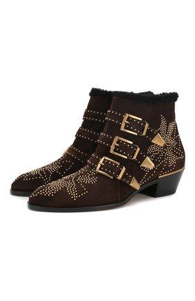 Женские замшевые ботинки susanna CHLOÉ темно-коричневого цвета, арт. CHC18W13438 | Фото 1