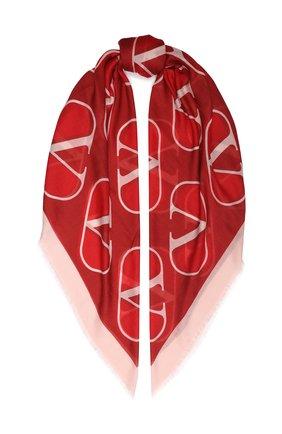 Женский платок из смеси кашемира и шелка VALENTINO красного цвета, арт. SW0EB104/FZS   Фото 1
