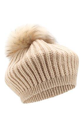 Женский кашемировая шапка INVERNI светло-бежевого цвета, арт. 0250CM | Фото 1