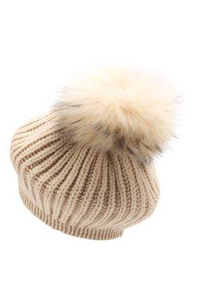 Женский кашемировая шапка INVERNI светло-бежевого цвета, арт. 0250CM | Фото 2