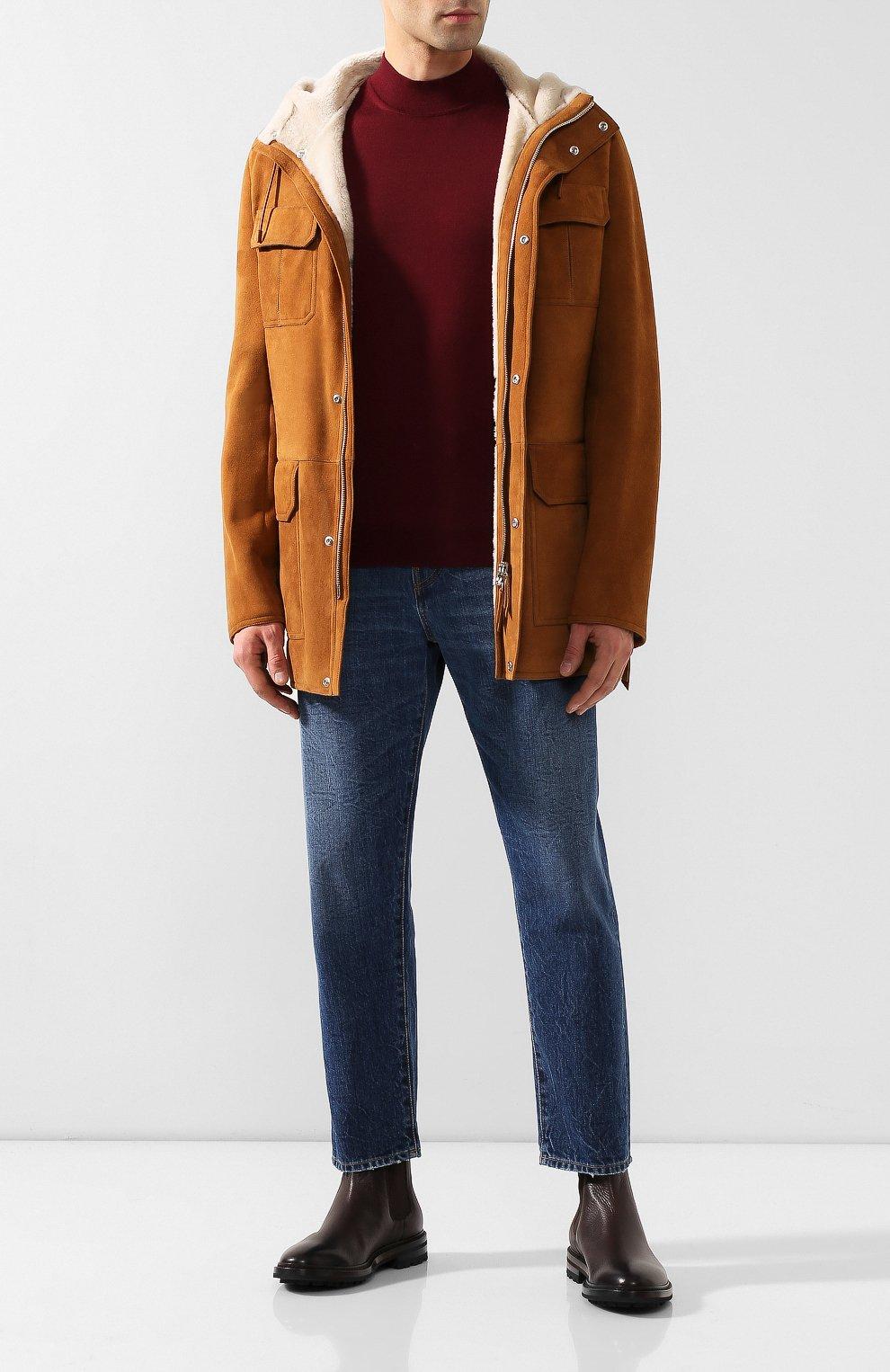 Мужские кожаные челси GIORGIO ARMANI темно-коричневого цвета, арт. X2M296/XF407   Фото 2