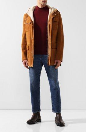 Мужские кожаные челси GIORGIO ARMANI темно-коричневого цвета, арт. X2M296/XF407 | Фото 2 (Материал внутренний: Натуральная кожа; Подошва: Плоская)