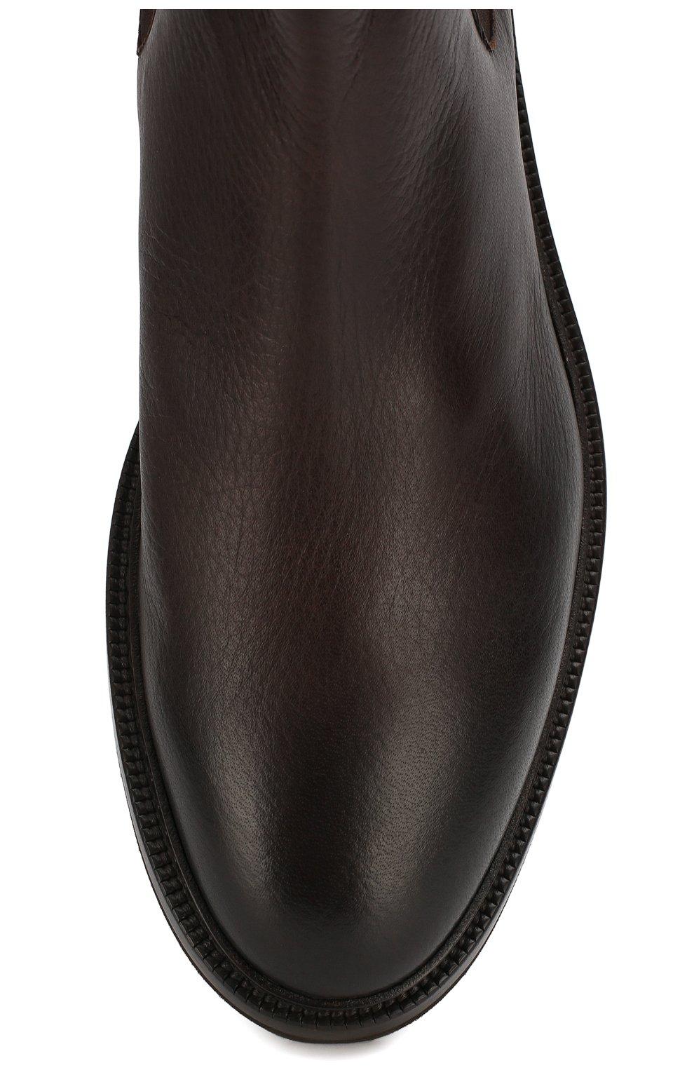 Мужские кожаные челси GIORGIO ARMANI темно-коричневого цвета, арт. X2M296/XF407   Фото 5