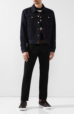 Мужские кожаные кеды ERMENEGILDO ZEGNA темно-коричневого цвета, арт. A2634X-HHPTA | Фото 2