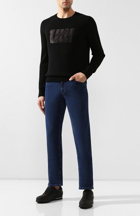 Мужские джинсы с отделкой из кожи аллигатора ZILLI темно-синего цвета, арт. MCS-00229-REDC1/R001/AMIS | Фото 2