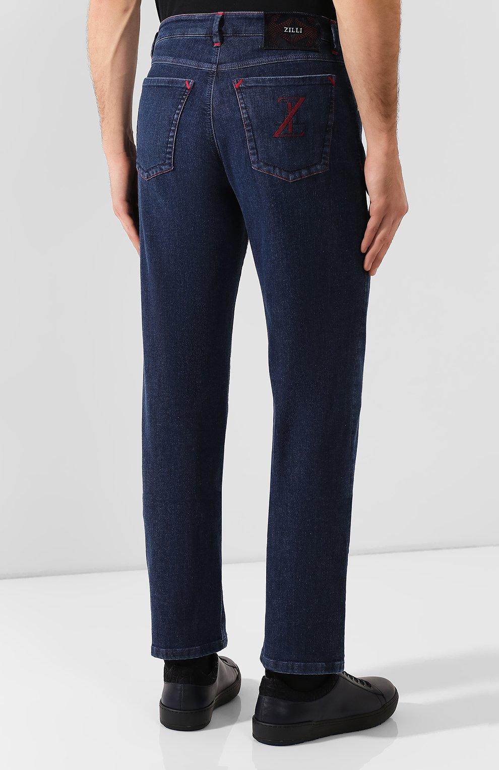 Мужские джинсы ZILLI темно-синего цвета, арт. MCS-00270-HIPE1/R001 | Фото 4