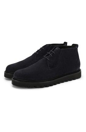 Мужские замшевые ботинки GIORGIO ARMANI темно-синего цвета, арт. X2M314/XF178 | Фото 1