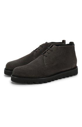 Мужские замшевые ботинки GIORGIO ARMANI темно-серого цвета, арт. X2M314/XF178 | Фото 1