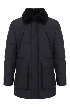 Мужская утепленная куртка с меховой отделкой CORNELIANI темно-синего цвета, арт. 842510-9813106/00 | Фото 1