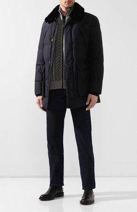 Мужская утепленная куртка с меховой отделкой CORNELIANI темно-синего цвета, арт. 842510-9813106/00 | Фото 2