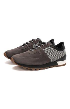 Мужские замшевые кроссовки KITON коричневого цвета, арт. USSMA02N00629 | Фото 1