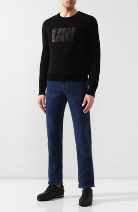 Мужской кашемировый свитер ZILLI черного цвета, арт. MBS-RN510-GUCA1/ML01   Фото 2 (Длина (для топов): Стандартные; Материал внешний: Кашемир, Шерсть; Рукава: Длинные; Принт: С принтом; Мужское Кросс-КТ: Свитер-одежда)