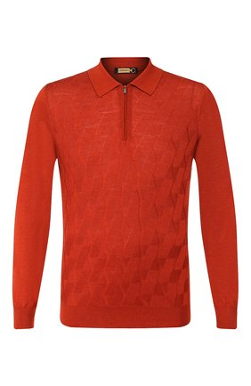 Мужское поло из смеси кашемира и шелка ZILLI оранжевого цвета, арт. MBS-PZ322-LICL1/ML01 | Фото 1
