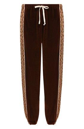Мужской хлопковые джоггеры GUCCI коричневого цвета, арт. 595527/XJBTB | Фото 1