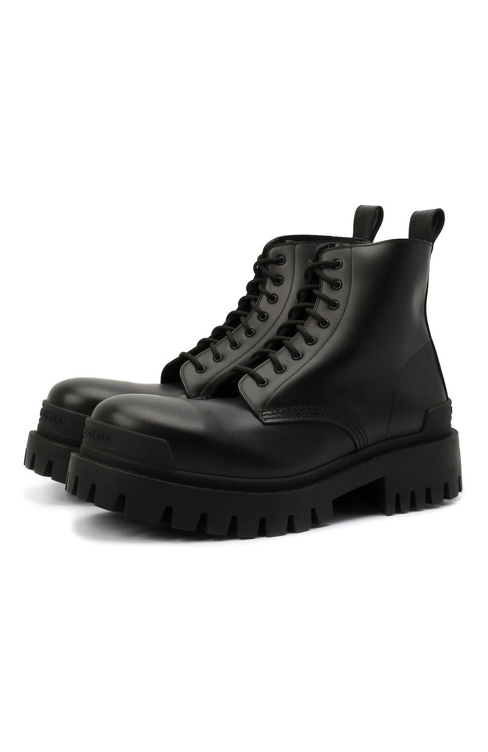 Мужские кожаные ботинки BALENCIAGA черного цвета, арт. 589338/WA960   Фото 1 (Мужское Кросс-КТ: Ботинки-обувь, Байкеры-обувь; Материал внутренний: Натуральная кожа; Статус проверки: Проверено; Подошва: Массивная)