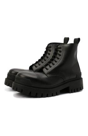 Мужские кожаные ботинки BALENCIAGA черного цвета, арт. 589338/WA960 | Фото 1