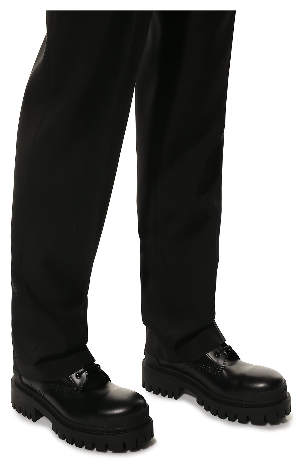Мужские кожаные ботинки BALENCIAGA черного цвета, арт. 589338/WA960   Фото 3 (Мужское Кросс-КТ: Ботинки-обувь, Байкеры-обувь; Материал внутренний: Натуральная кожа; Статус проверки: Проверено; Подошва: Массивная)