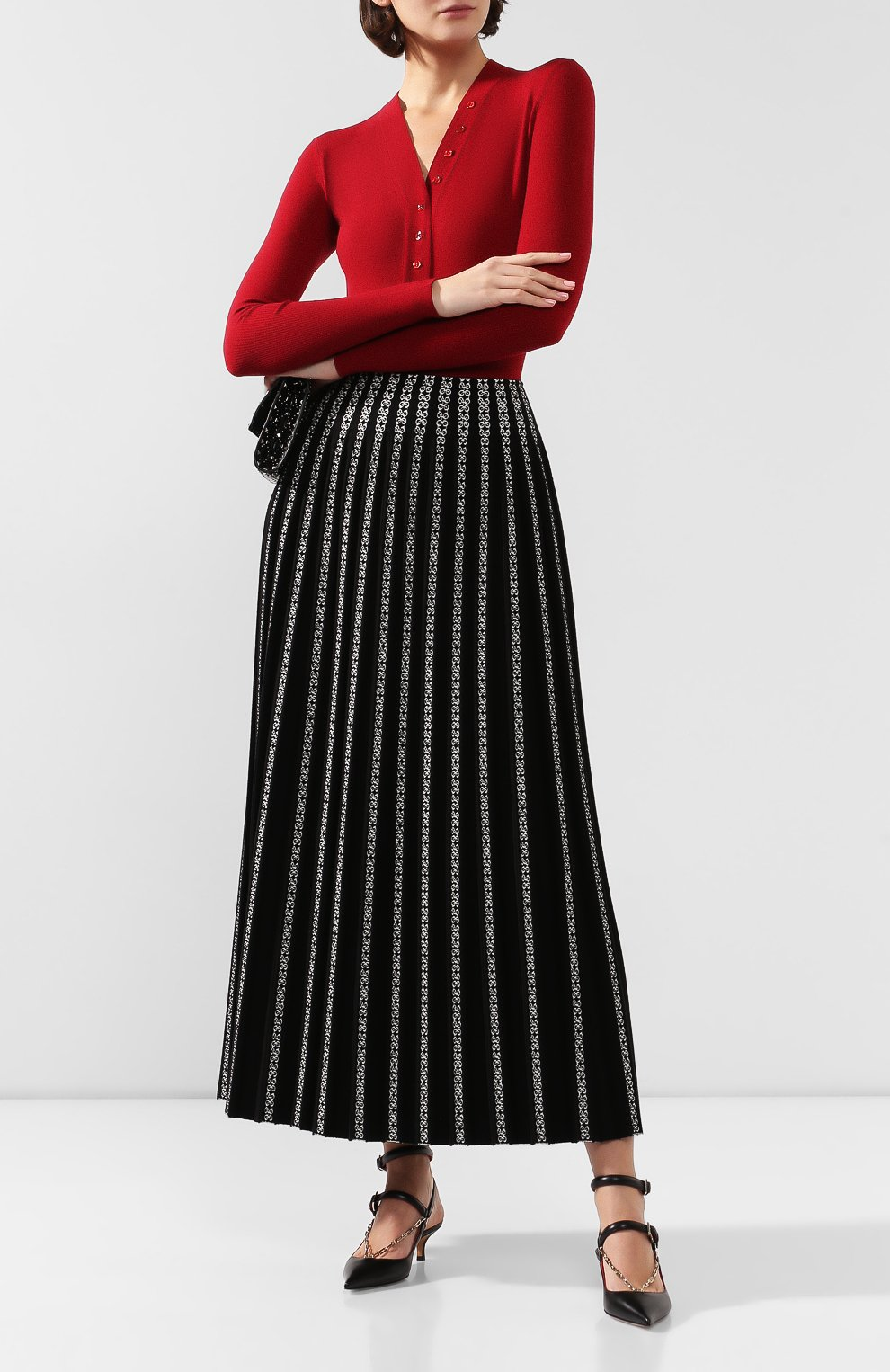 Женская юбка ALAIA черно-белого цвета, арт. 9W9JE38LM490 | Фото 2