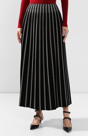Женская юбка ALAIA черно-белого цвета, арт. 9W9JE38LM490 | Фото 3