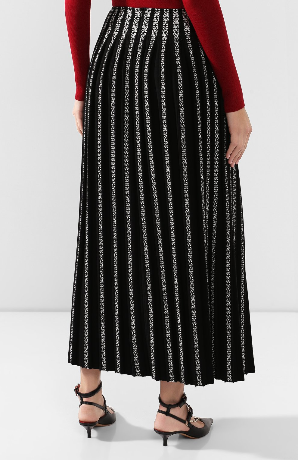 Женская юбка ALAIA черно-белого цвета, арт. 9W9JE38LM490 | Фото 4