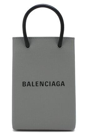 Мужской кожаный чехол shopping для телефона BALENCIAGA серого цвета, арт. 593826/0AI2N | Фото 1