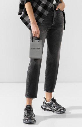 Мужской кожаный чехол shopping для телефона BALENCIAGA серого цвета, арт. 593826/0AI2N | Фото 2