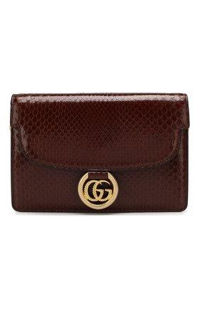 Женская сумка gg ring из кожи питона GUCCI коричневого цвета, арт. 589474/LJM0G/PBIV | Фото 1