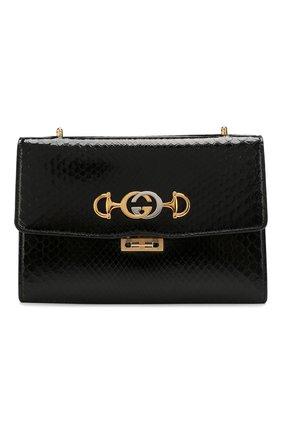 Женская сумка gucci zumi small из кожи питона GUCCI черного цвета, арт. 576388/LJM0X/PBIV | Фото 1