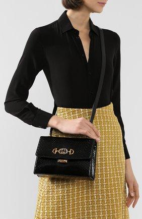 Женская сумка gucci zumi small из кожи питона GUCCI черного цвета, арт. 576388/LJM0X/PBIV | Фото 2