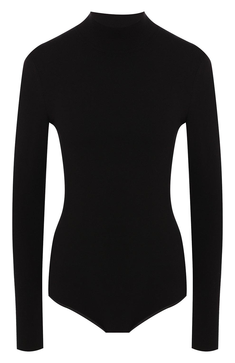 Женское шерстяное боди ALAIA черного цвета, арт. 9W9UA61RM001 | Фото 1 (Материал внешний: Шерсть; Рукава: Длинные; Стили: Классический, Минимализм, Кэжуэл; Кросс-КТ: с рукавом; Статус проверки: Проверена категория)