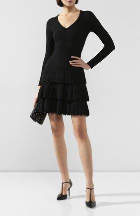 Женское шерстяное платье ALAIA черного цвета, арт. 9W9RM65CM486 | Фото 2