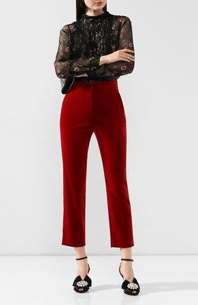 Женские бархатные брюки DOLCE & GABBANA красного цвета, арт. FTA6ST/FUWB3 | Фото 2