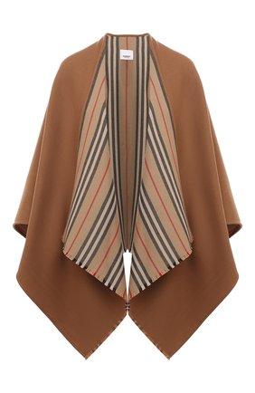 Женская шерстяная накидка BURBERRY бежевого цвета, арт. 8015654 | Фото 1