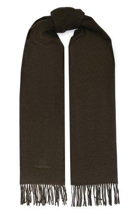 Мужской шелковый шарф TOM FORD хаки цвета, арт. 6TF125/2TA | Фото 1