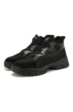 Мужские комбинированные ботинки TOD'S черного цвета, арт. XXM81B0BZ11MBF | Фото 1