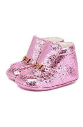 Детского кожаные пинетки GUCCI розового цвета, арт. 579137/01R00 | Фото 1