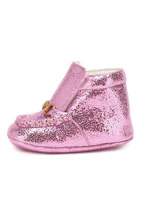 Детского кожаные пинетки GUCCI розового цвета, арт. 579137/01R00 | Фото 2