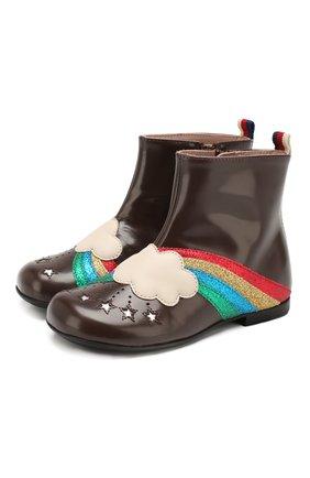 Детские кожаные ботинки GUCCI коричневого цвета, арт. 579675/D73K0 | Фото 1