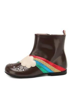 Детские кожаные ботинки GUCCI коричневого цвета, арт. 579675/D73K0 | Фото 2