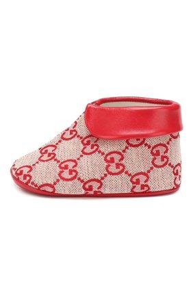 Детского текстильные пинетки GUCCI красного цвета, арт. 579897/9SF80 | Фото 2
