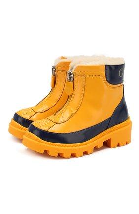 Детские кожаные ботинки GUCCI желтого цвета, арт. 580728/D73F0 | Фото 1