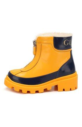 Детские кожаные ботинки GUCCI желтого цвета, арт. 580728/D73F0 | Фото 2