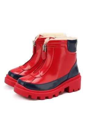 Детские кожаные ботинки GUCCI красного цвета, арт. 580728/D73F0 | Фото 1
