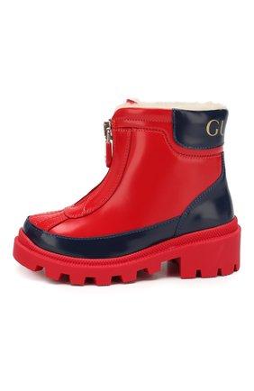 Детские кожаные ботинки GUCCI красного цвета, арт. 580728/D73F0 | Фото 2