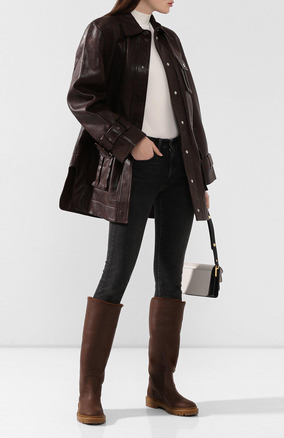 Женские кожаные сапоги CASADEI коричневого цвета, арт. 1S025N0211CALGA2608 | Фото 2