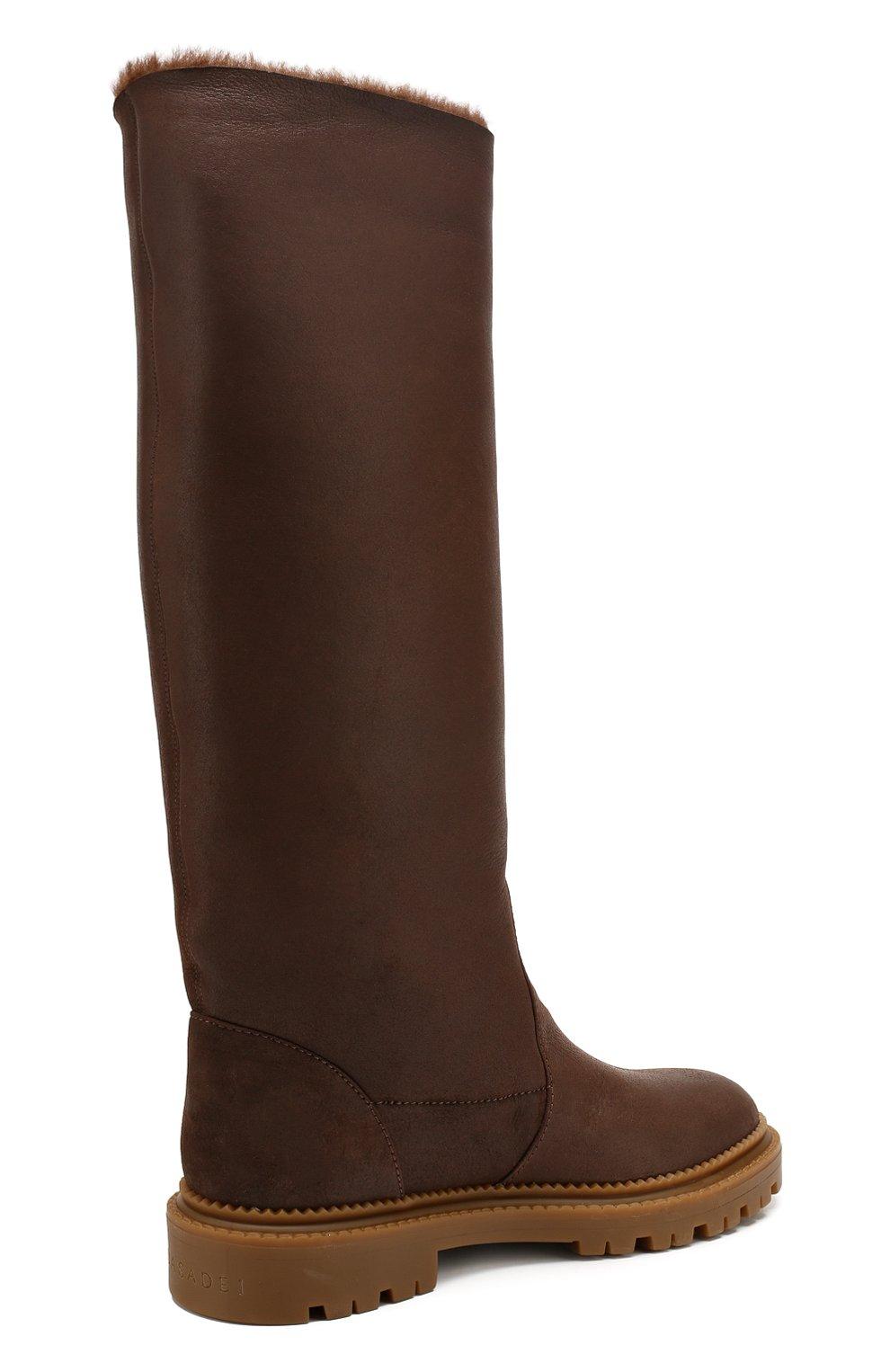 Женские кожаные сапоги CASADEI коричневого цвета, арт. 1S025N0211CALGA2608 | Фото 4