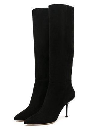 Женские замшевые сапоги SERGIO ROSSI черного цвета, арт. A85181-MCAZ01 | Фото 1
