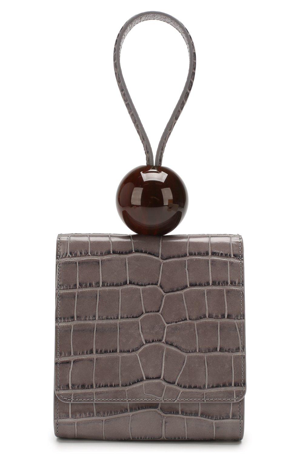 Женская сумка ball BY FAR серого цвета, арт. 18FWBALAGRDSMA | Фото 1 (Сумки-технические: Сумки top-handle; Материал: Натуральная кожа; Размер: mini)